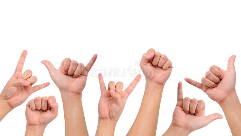 Kompilation der verschiedenen Handzeichen lizenzfreie stockfotos