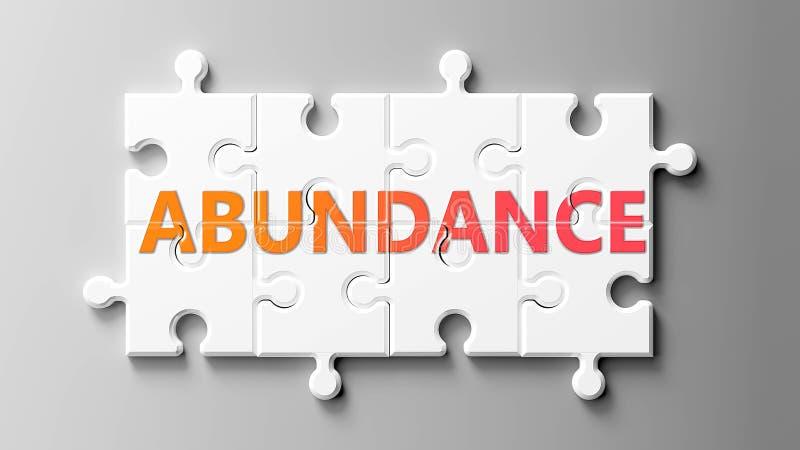 Kompleks obfitości jak puzzle - przedstawiany jako słowo Abundance na fragmentach układanki, aby pokazać, że obfitość może być tr ilustracja wektor