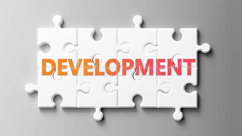 Kompleks rozwojowy jak układanka - przedstawiany jako 'Rozwój' na fragmentach układanki, aby pokazać, że rozwój może być trudny i royalty ilustracja