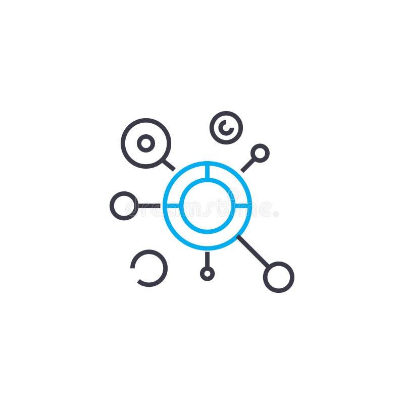 Kompleksu wzorcowego wektoru uderzenia cienka kreskowa ikona Kompleksu modela konturu ilustracja, liniowy znak, symbolu pojęcie ilustracja wektor