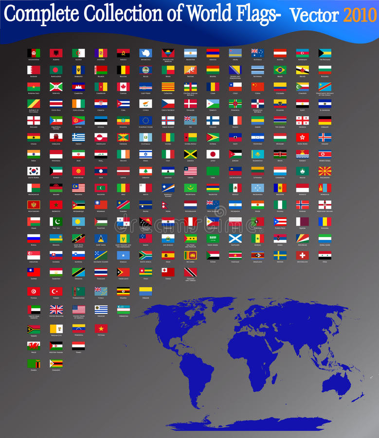 Komplettes vektorset Weltmarkierungsfahnen stockbilder