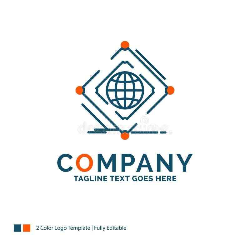 Komplex, global, Internet, Netz, Netz Logo Design Blau und Orange lizenzfreie abbildung