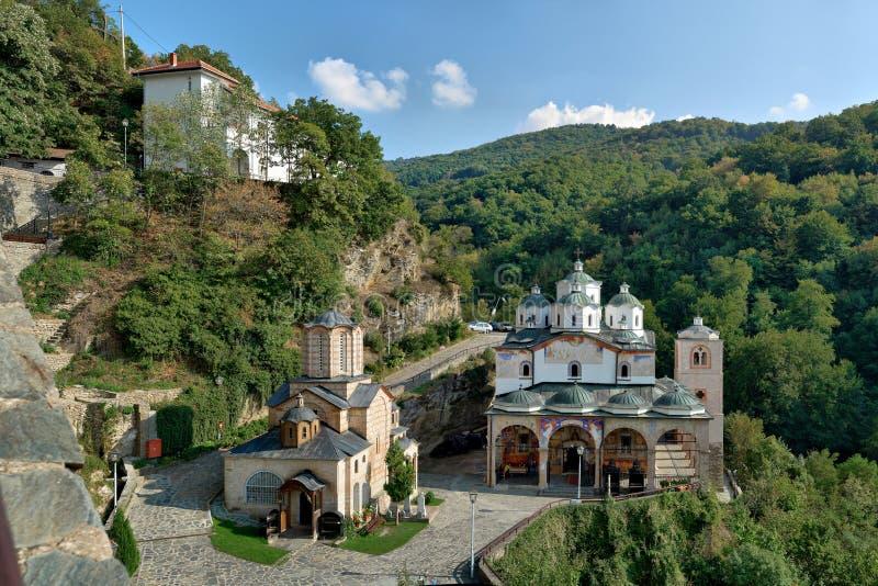 Komplex Makedonien för gammal forntida kyrklig kloster panorama royaltyfri bild