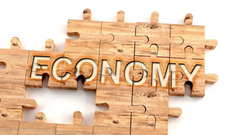 Komplex och förvirrande ekonomi: lär sig ett komplicerat, svårt och svårt ekonomiskt koncept, som uppfattas som delar av en träpu stock illustrationer