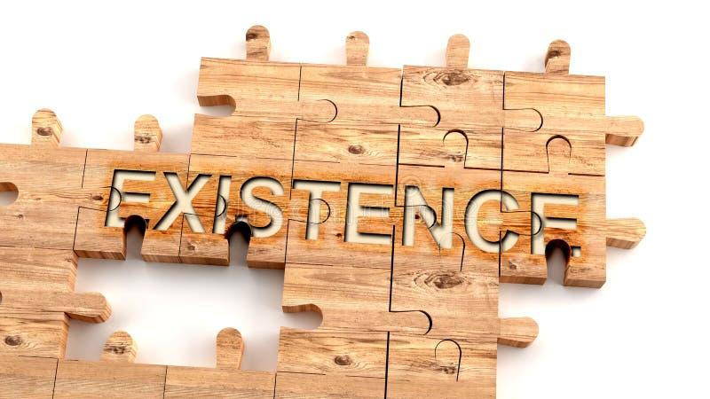 Komplex och förvirrande existens: lär sig ett komplicerat, svårt och svårt existensbegrepp, som bildas som bitar av en träpussel royaltyfri illustrationer