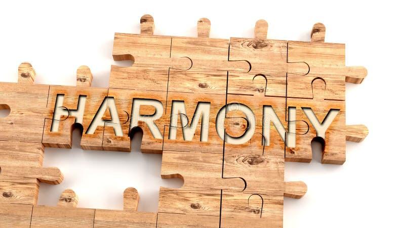 Komplex och förvirrande harmoni: lär sig ett komplicerat, hårt och svårt koncept för harmoni, bildat som delar av en träpussel vektor illustrationer