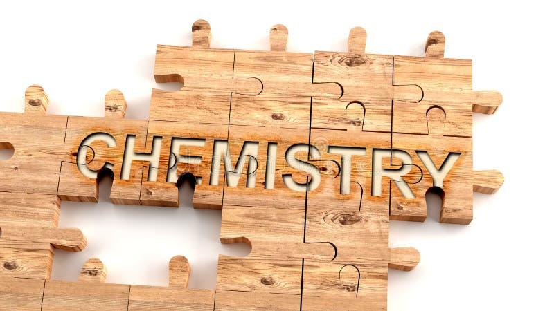 Komplex och förvirrande kemi: lär sig ett komplicerat, hårt och svårt kemikoncept, som bildas som bitar av en träpuss vektor illustrationer