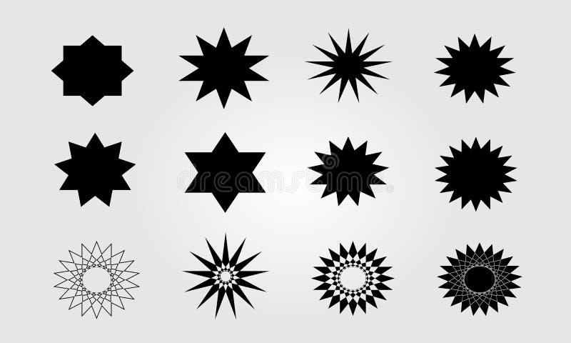 Komplex vektor för stjärnasymbolsuppsättning stock illustrationer