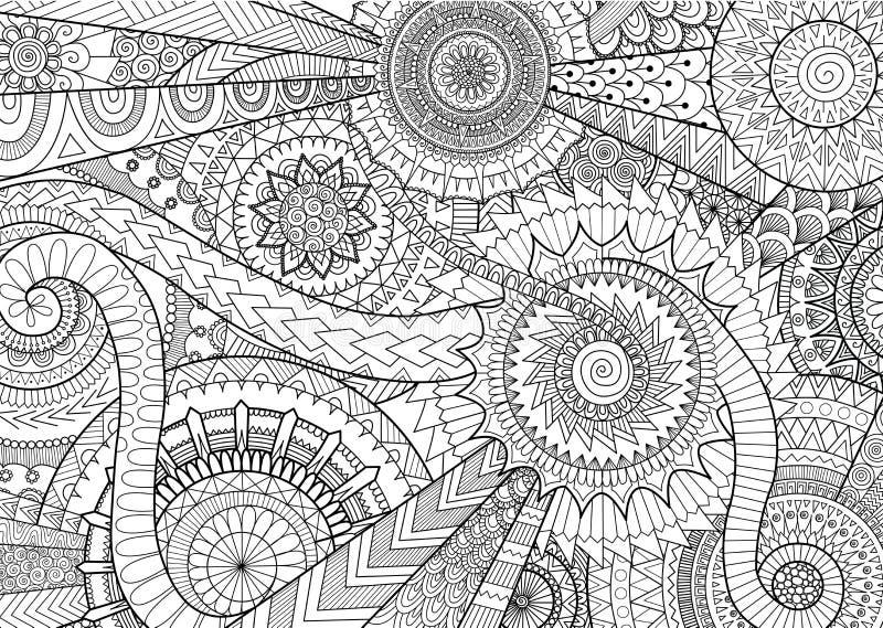 Komplexes Mandalabewegungsdesign für erwachsenes Malbuch und Hintergrund lizenzfreie abbildung