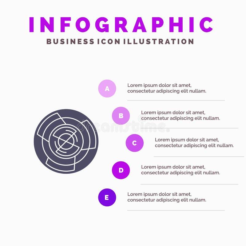 Komplexitet affär, utmaning, begrepp, labyrint, logik, bakgrund för Maze Solid Icon Infographics 5 momentpresentation vektor illustrationer