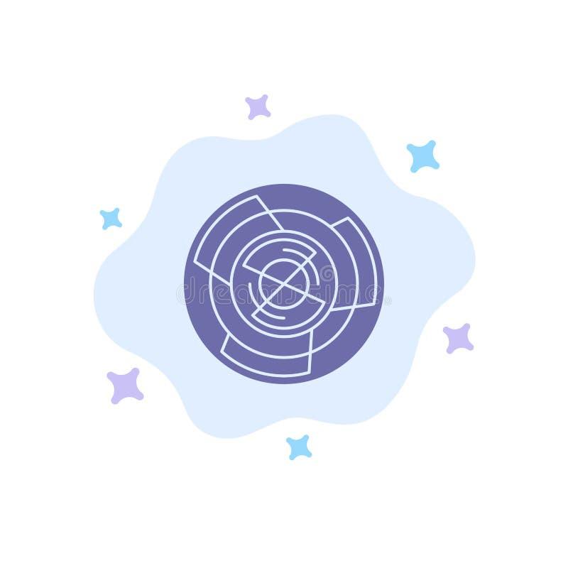 Komplexitet affär, utmaning, begrepp, labyrint, logik, Maze Blue Icon på abstrakt molnbakgrund royaltyfri illustrationer