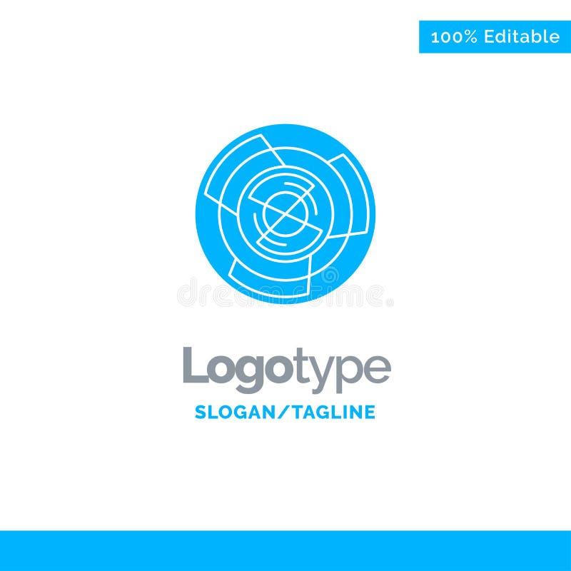 Komplexitet affär, utmaning, begrepp, labyrint, logik, Maze Blue Solid Logo Template St?lle f?r Tagline stock illustrationer