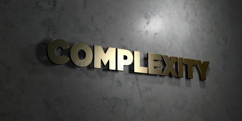 Komplexitet - guld- text på svart bakgrund - 3D framförd fri materielbild för royalty vektor illustrationer