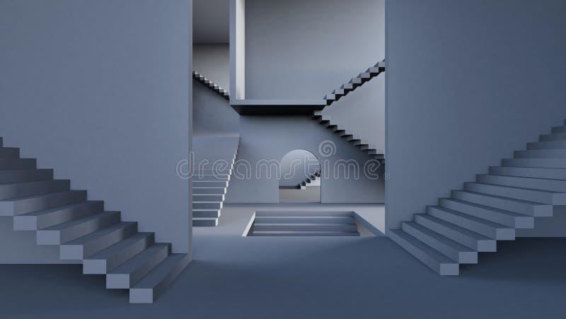 Komplexitetsbegrepp, modern korridor med trappa 3d att framföra stock illustrationer