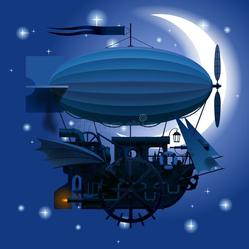 Komplext fantastiskt flygskepp i natthimmel med månen royaltyfri illustrationer