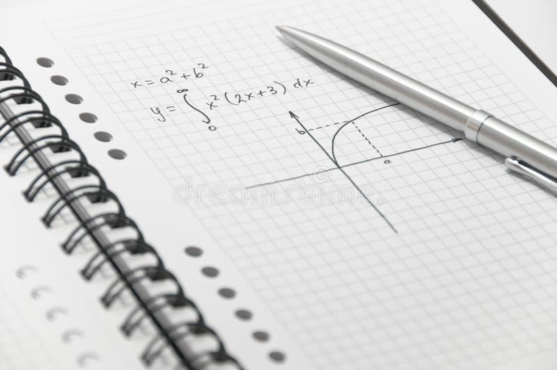 Komplizierte Matheformel (mit einfachem Diagramm) stockfotos