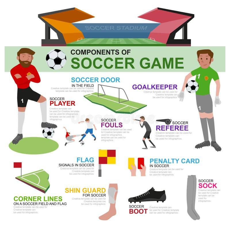 Komponenten des Fußballspiels und -graphik stock abbildung