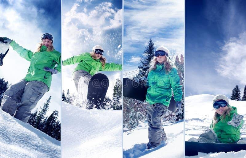 Komponerad Snowboardertemacollage arkivfoton