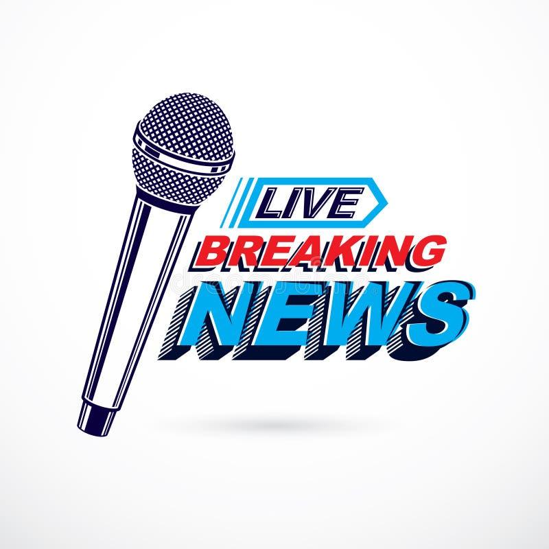 Komponerat använda för varm nyheterna begreppsmässig logo bryta levande nyheternawriti vektor illustrationer