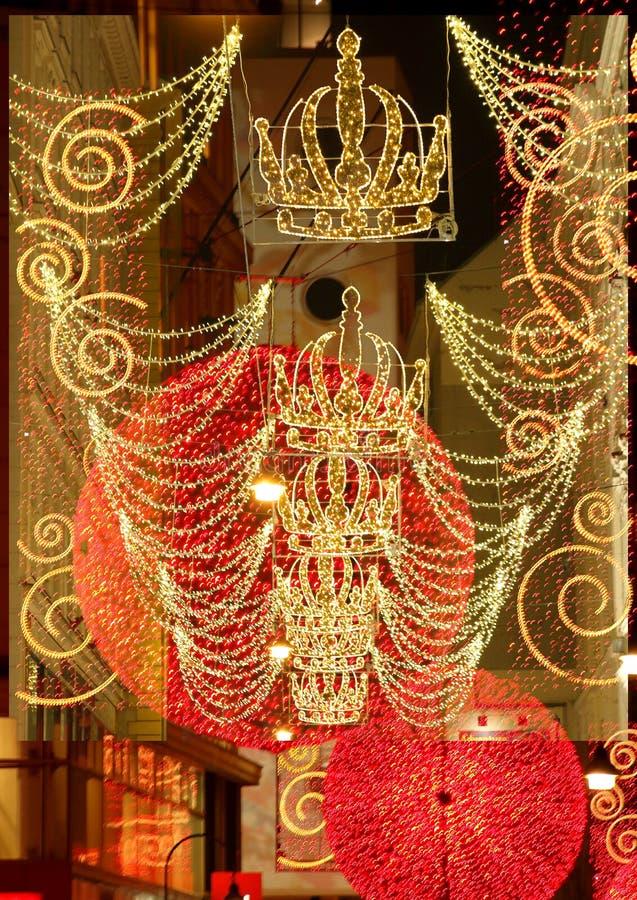 Komponować Streetdecorations dla bożych narodzeń obraz royalty free