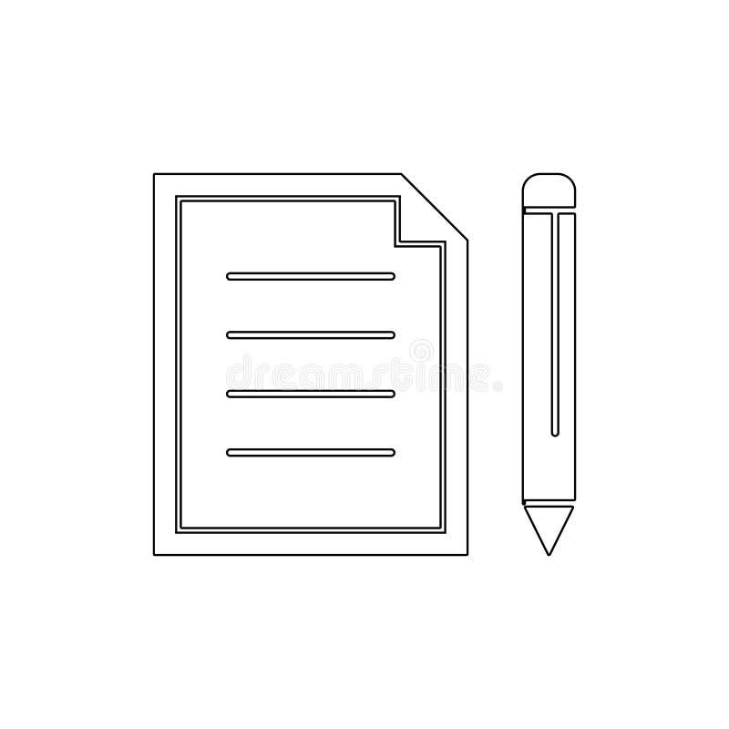 Komponuje dokumenty redaguje nowego papierowego ołówek pisze kontur ikonie Znaki i symbole mog? u?ywa? dla sieci, logo, mobilny a royalty ilustracja