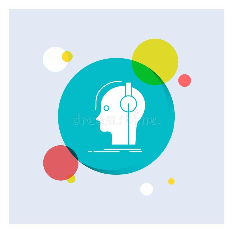 kompositör hörlurar, musiker, producent, bakgrund för cirkel för solid vit skårasymbol färgrik royaltyfri illustrationer