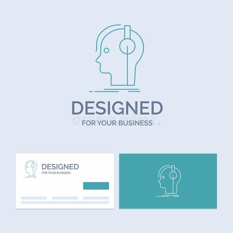 kompositör hörlurar, musiker, producent, solid affär Logo Line Icon Symbol för din affär Turkosaff?rskort med stock illustrationer