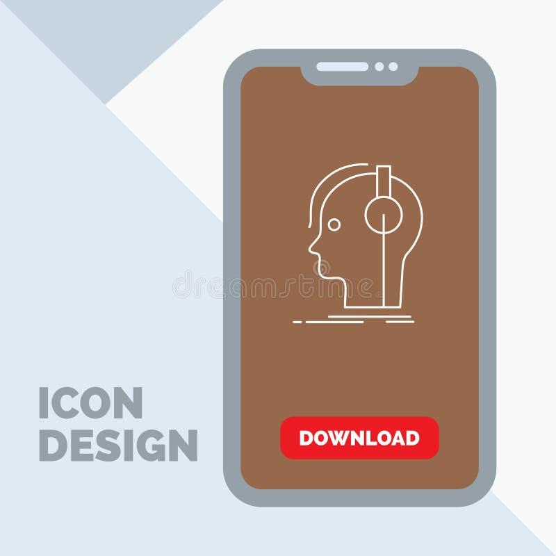 kompositör hörlurar, musiker, producent, solid linje symbol i mobilen för nedladdningsida vektor illustrationer