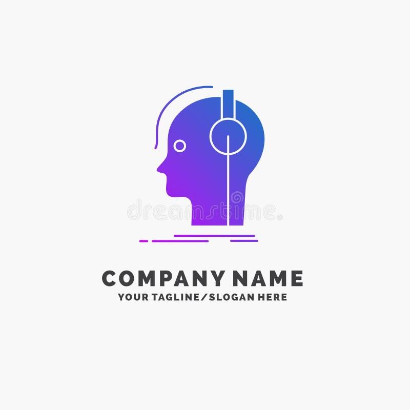 kompositör hörlurar, musiker, producent, solid purpurfärgad affär Logo Template St?lle f?r Tagline royaltyfri illustrationer