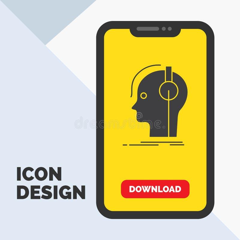 kompositör hörlurar, musiker, producent, solid skårasymbol i mobilen för nedladdningsida Gul bakgrund vektor illustrationer