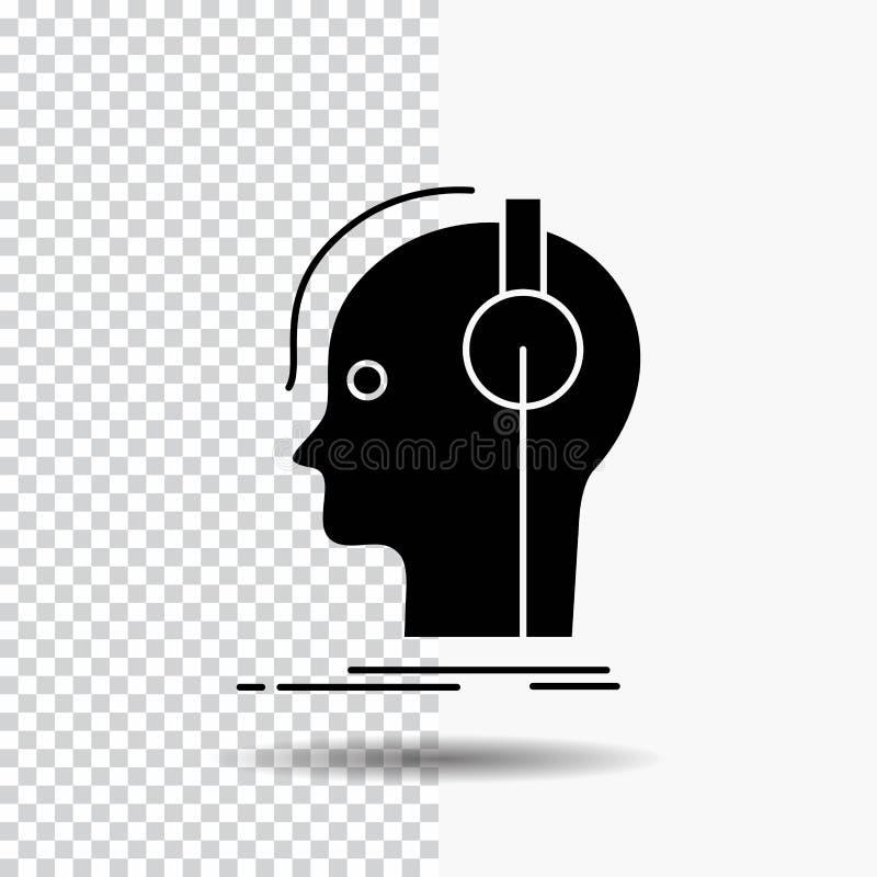 kompositör hörlurar, musiker, producent, solid skårasymbol på genomskinlig bakgrund Svart symbol vektor illustrationer