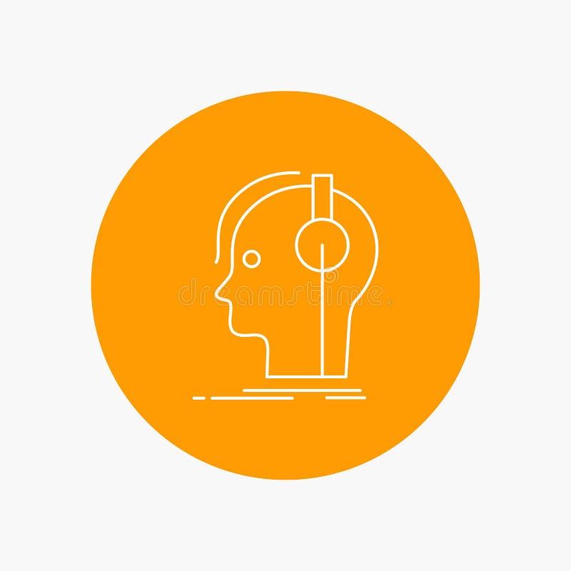 kompositör hörlurar, musiker, producent, solid vit linje symbol i cirkelbakgrund Vektorsymbolsillustration stock illustrationer