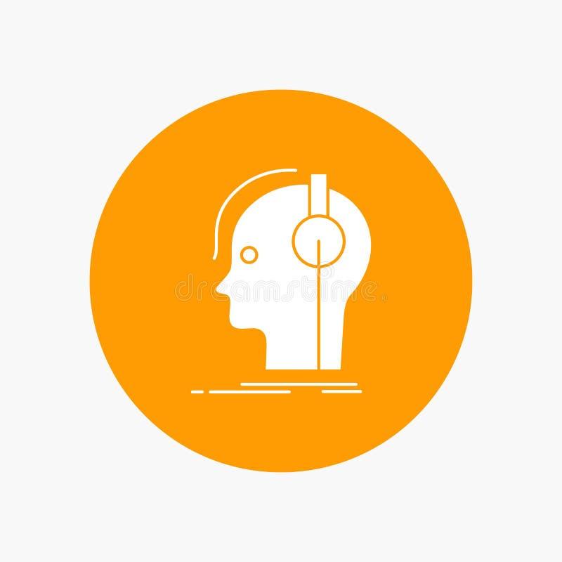 kompositör hörlurar, musiker, producent, solid vit skårasymbol i cirkel Vektorknappillustration stock illustrationer