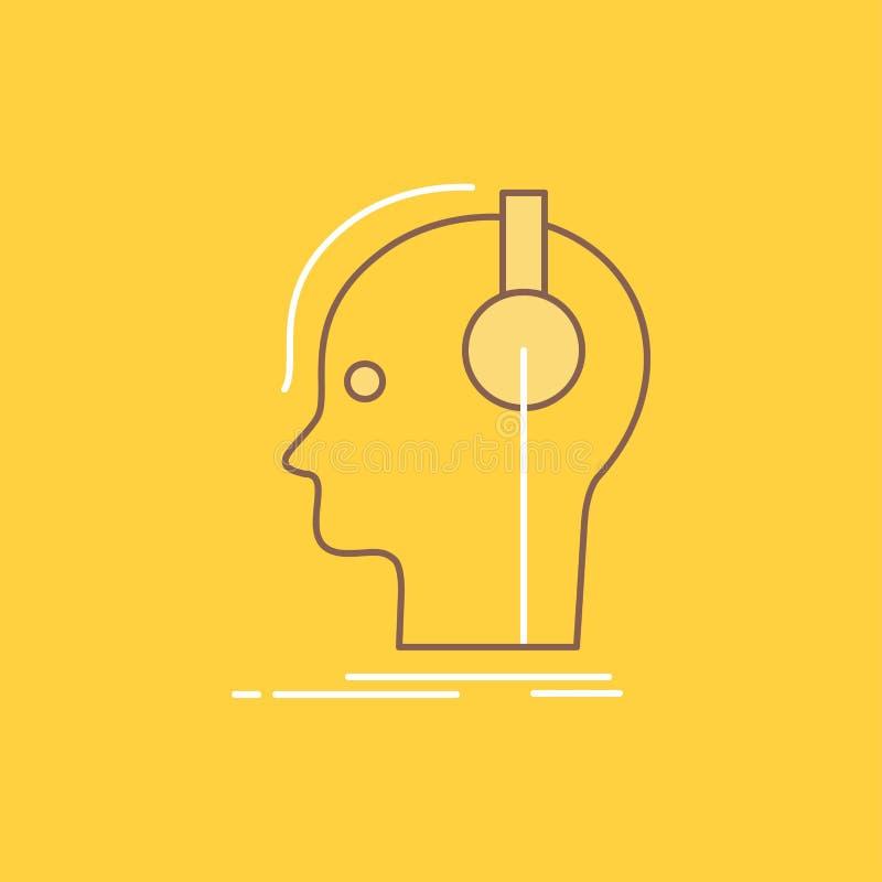 kompositören hörlurar, musikern, producent, den solida plana linjen fyllde symbolen H?rlig logoknapp ?ver gul bakgrund f?r UI och royaltyfri illustrationer