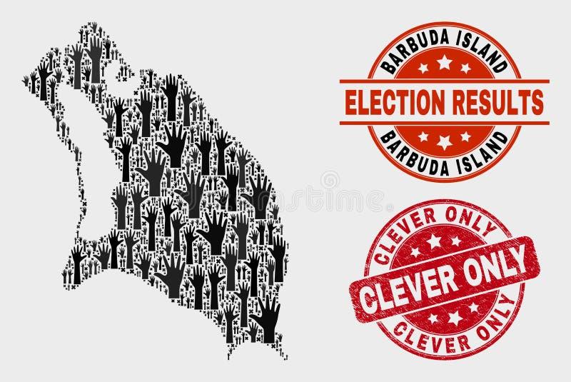 Komposition der Wahl-Barbuda-Insel-Karte und der Grunge-klugen einzigen Dichtung lizenzfreie abbildung
