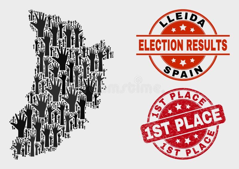 Komposition der Wahl-Lleida-Provinz-Karte und Grunge-des 1. Platz-Stempels lizenzfreie abbildung