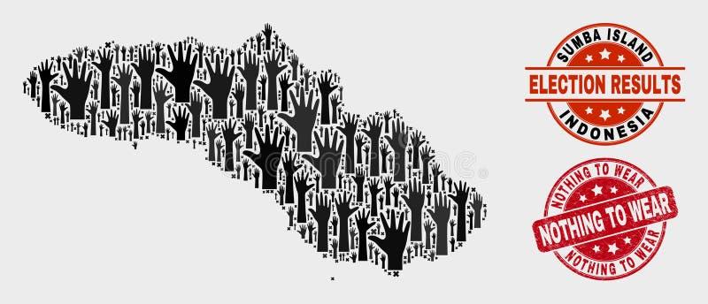 Komposition der Wahl Sumba-Insel-Karte und der Grunge nichts, Wasserzeichen zu tragen stock abbildung