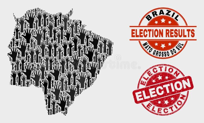 Komposition von Abstimmungs-Mato Grosso Do Sul State-Karte und von Grunge-Wahl-Wasserzeichen stock abbildung