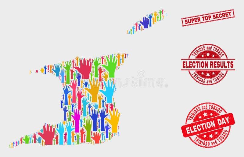 Komposition von Abstimmungs-Trinidad und Tobago-Karte und von Grunge-super streng geheim Stempelsiegel stock abbildung
