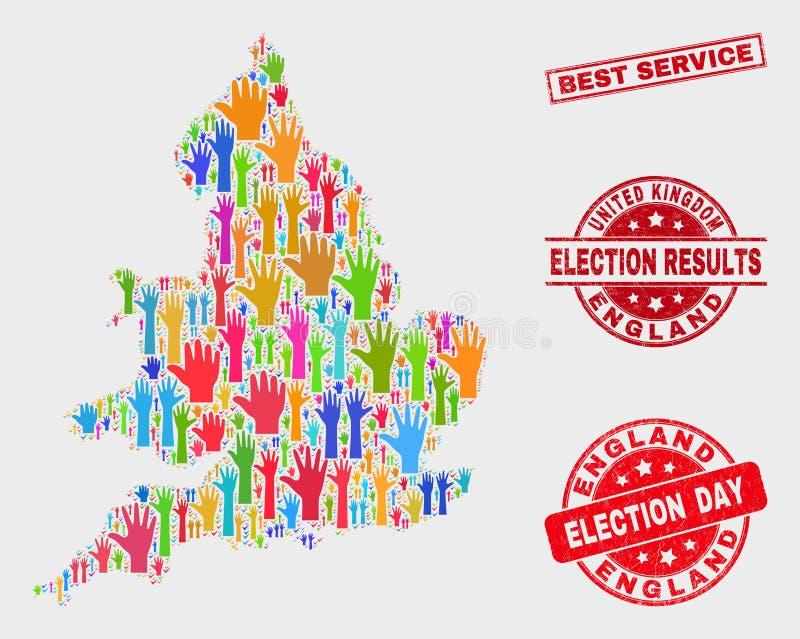Komposition von Wahl-England-Karte und Grunge-von bestem Service-Stempelsiegel stock abbildung
