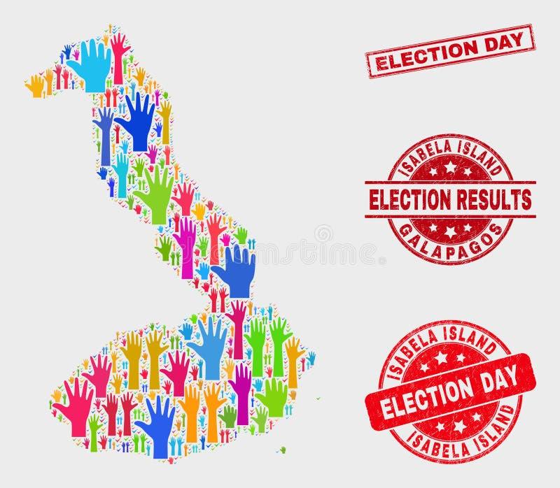 Komposition von Wahl-Isabela Island von Galapagos-Karte und von Grunge-Wahltag-Dichtung vektor abbildung