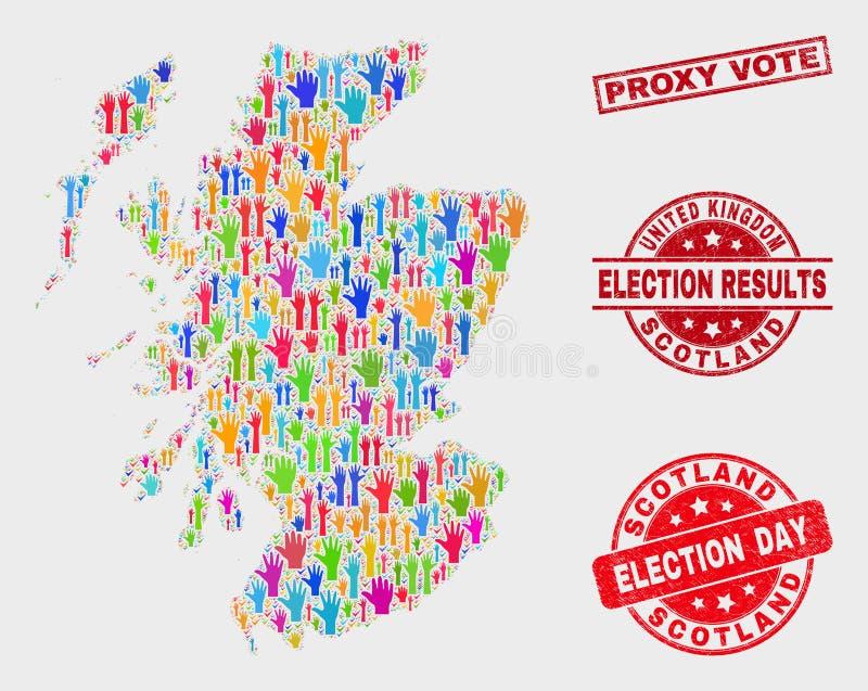 Komposition von Wahl-Schottland-Karte und von Grunge-Stellvertreterwahl-Wasserzeichen lizenzfreie abbildung