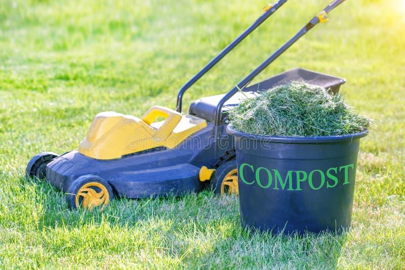 Kompostfack som är fullt av nytt gräsurklipp på gräsmatta i trädgården arkivbild