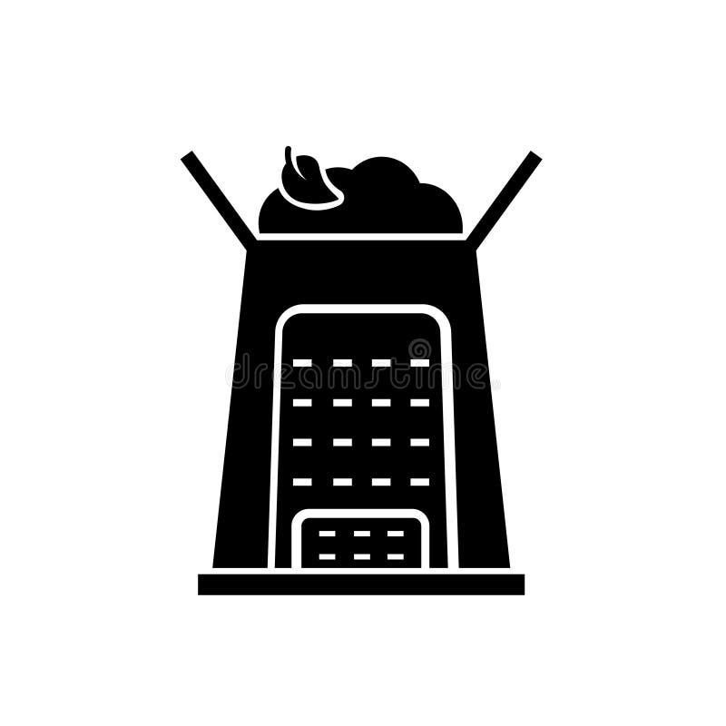 Kompostowego kosza sylwetki ikona ilustracji