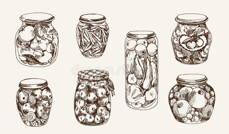 Kompott und Essiggurken stock abbildung