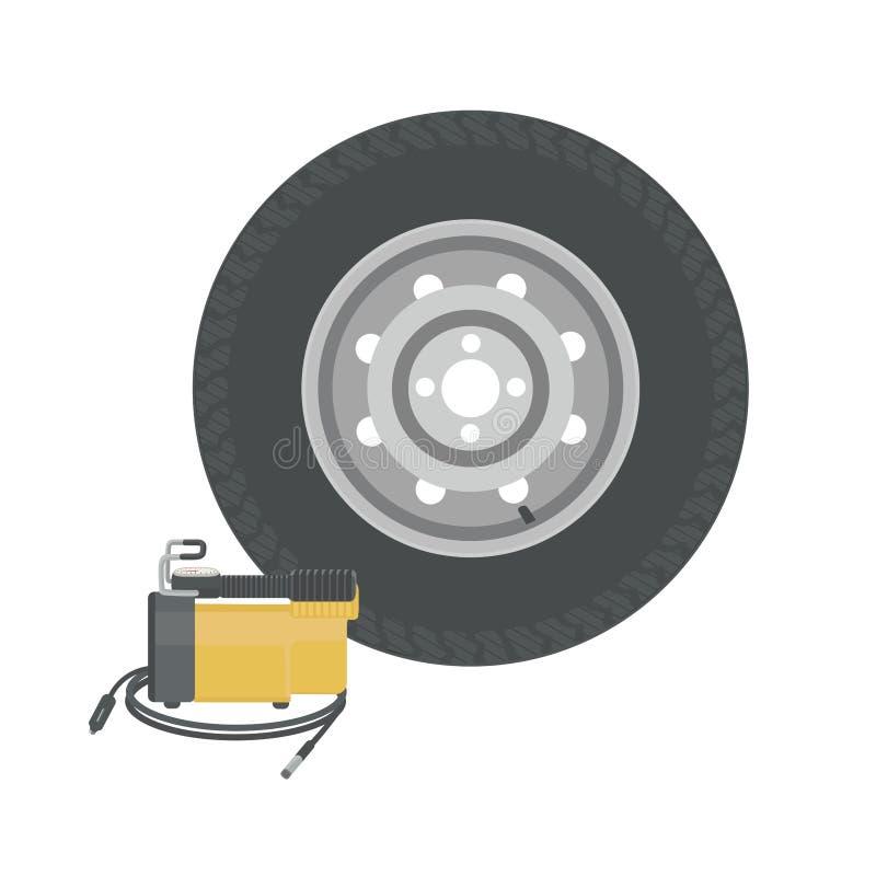 Kompressor för extra- hjul och bil Pumphjul royaltyfri illustrationer