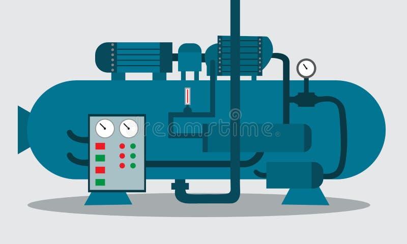 Kompressor för lagring av kemikalien också vektor för coreldrawillustration royaltyfri illustrationer