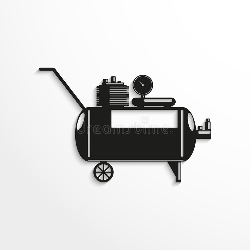 kompressor också vektor för coreldrawillustration Svartvit sikt stock illustrationer