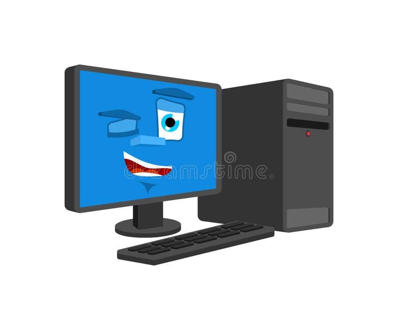 Komputerów mrugnięcia odizolowywający szczęśliwy pecet kreskówki styl Dobry dane procesoru wektor royalty ilustracja