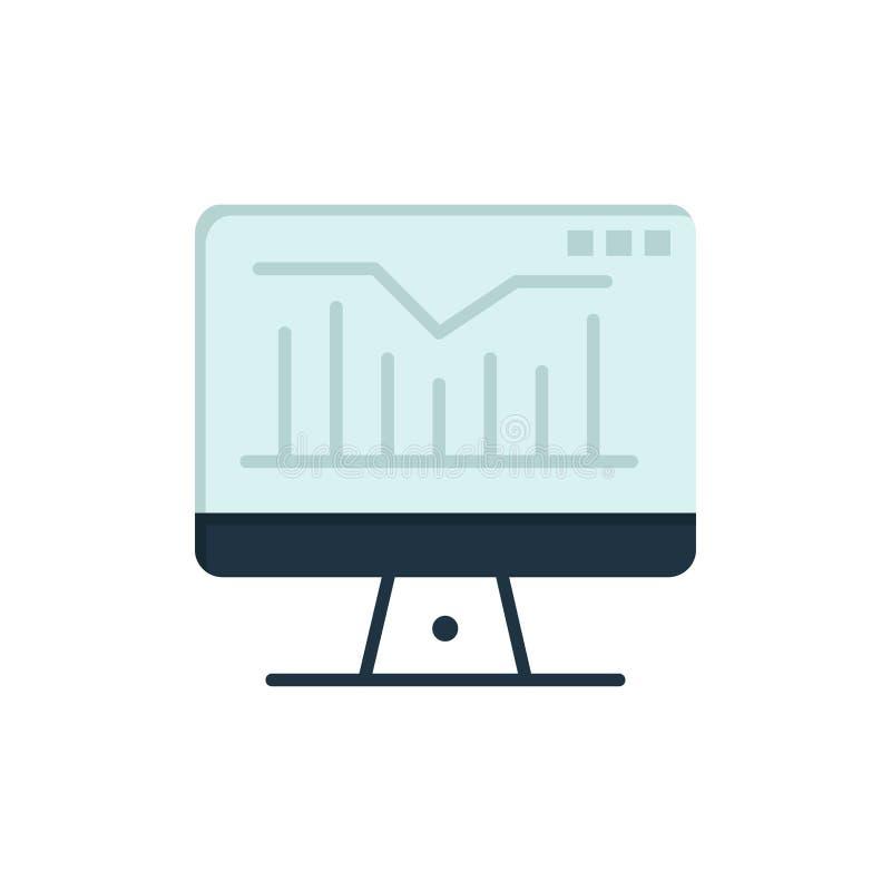 Komputer, ładunek elektrostatyczny, wykres, monitoru koloru Płaska ikona Wektorowy ikona sztandaru szablon ilustracji